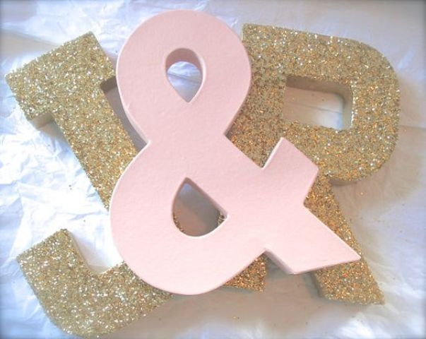 ombre blush and gold giltter initials