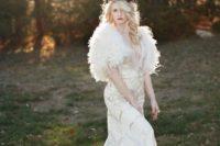 19 white faux fur and a glitter applique dress