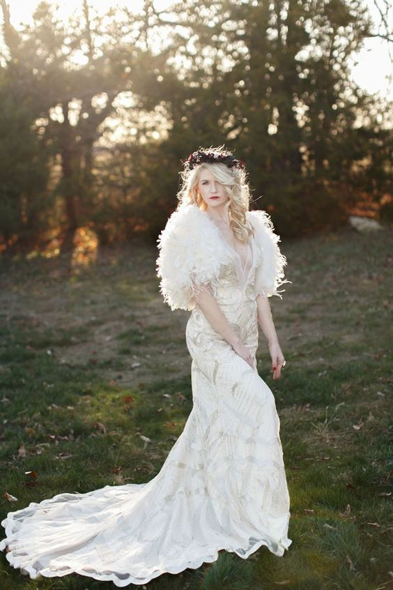 white faux fur and a glitter applique dress