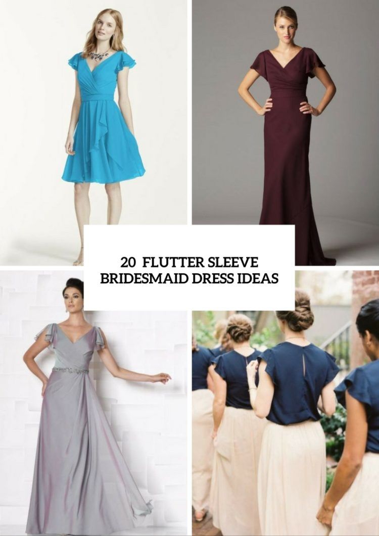 20 Touching Flutter Sleeve Bridesmaid Dress Ideas - Weddingomania
