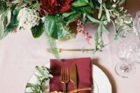 20 blush tablecloth, burgundy flowers and napkins, gold tableware