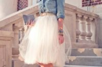 20 chambray shirt and a tulle skirt for a city hall wedding
