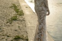 20 illusion off shoulder beaded sheath wedding dress with a nude slit skirt