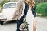 20 white plunging neckline wedding dress, Converse and a black jacket
