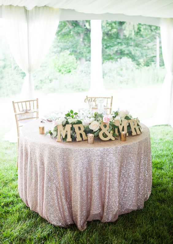 blush tablecloth and gold letters