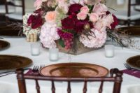 21 burgundy and blush floral centerpieces look very fall-like and lush