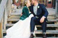 21 green velvet man's jacket taken from the groom