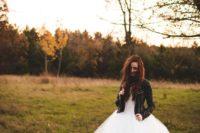 21 white tutu wedding dress wearing a leather jacket