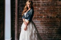 22 ruffled wedding dress paired with a chambray shirt