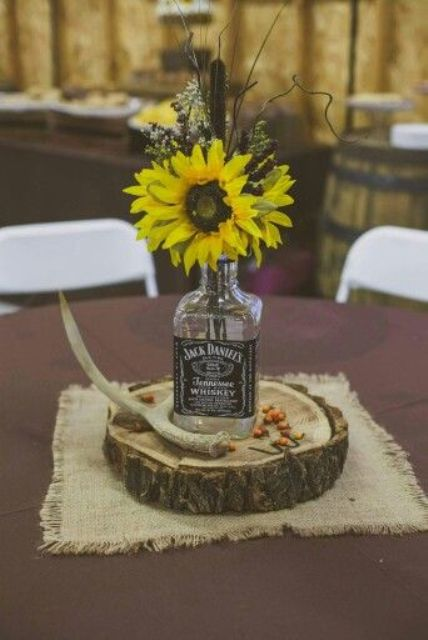 whiskey bottle vase for a centerpiece