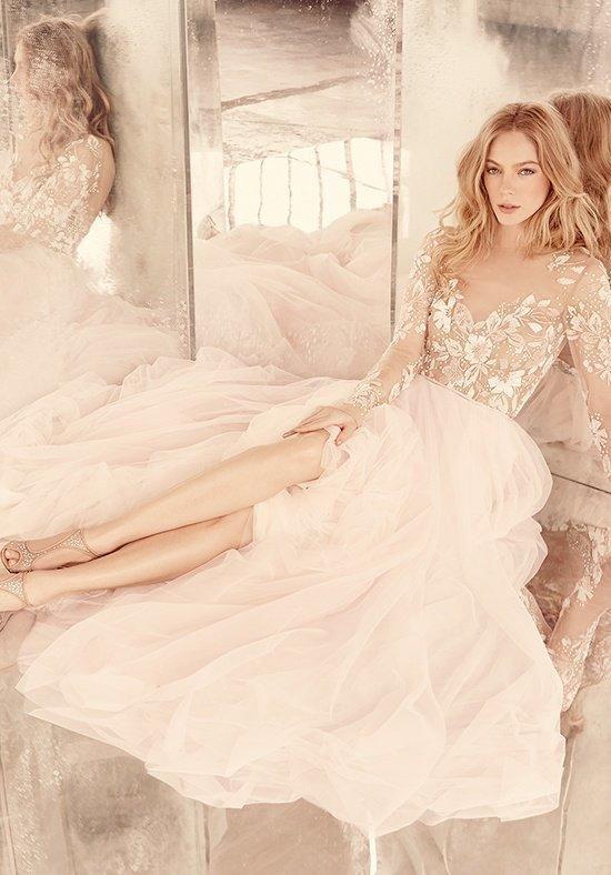 long sleeve A-line wedding dress, illusion floral beaded bodice with bateau neckline
