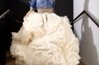 23 rustic bride in a chambray shirt, ruffled dress and cowboy boots