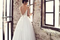 24 low back wedding ball gown