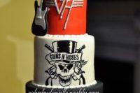26 rock wedding cake with favorite groups' names