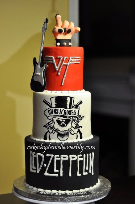 rock wedding cake with favorite groups' names