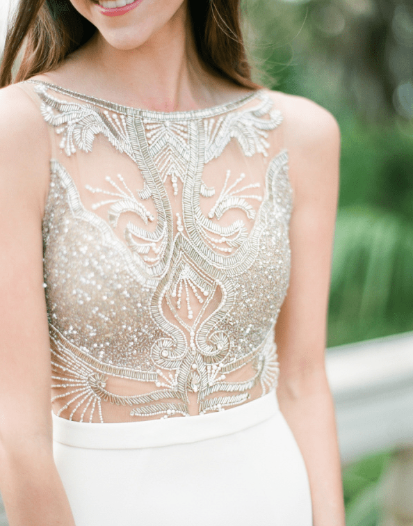 beaded applique to cover the bodice