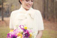 29 furry knit bridal cropped jacket