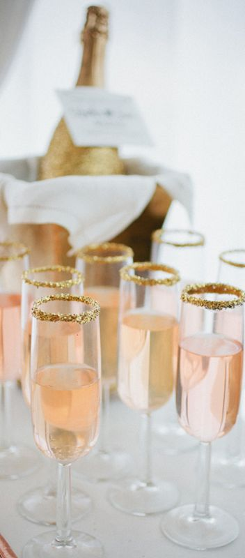 pink champagne and gold edge glasses