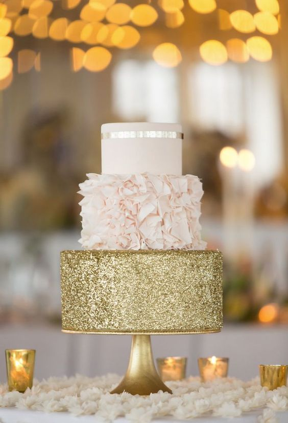 blush ruffled and gold glitter cake