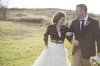 31 red plaid shirt over a gorgeous wedding gown