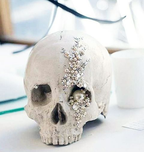 skull decoration with beads and pearls