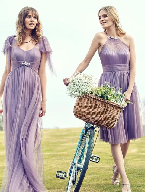 Airy light purple chiffon maxi dresses
