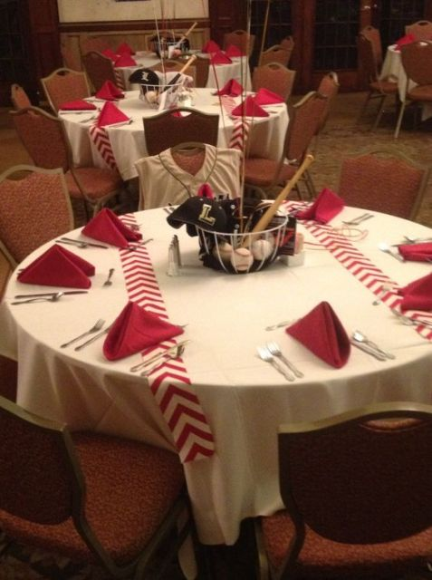 Baseball themed tablecloths for wedding day