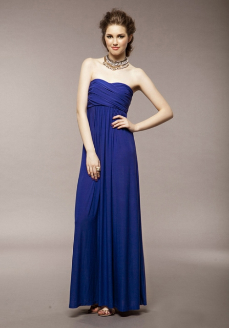 Blue maxi dress with original necklace