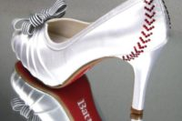 Bridal shoes with red lacing