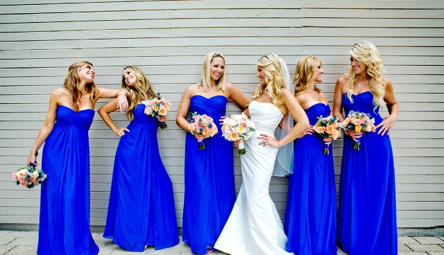Bright blue maxi bridesmaid dresses