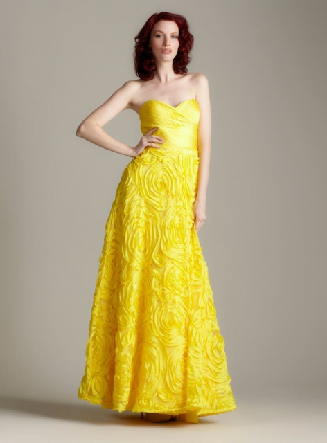 Bright strapless maxi dress