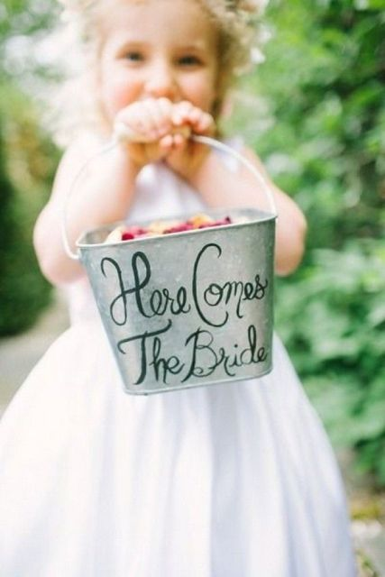 Bucket as an alternative for flower girl's basket