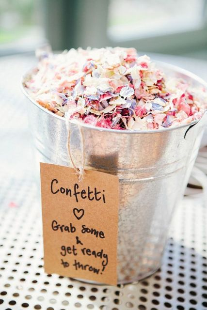Bucket filled with petal confetti