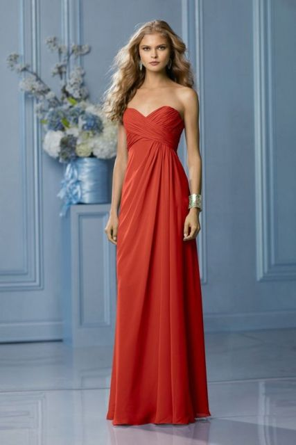 Burnt orange strapless draped maxi dress