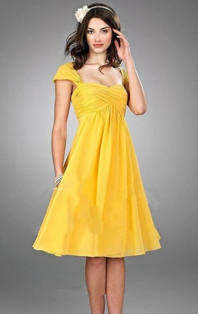 Canary A-line knee-length dress idea