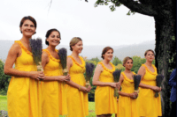 Canary yellow mini dresses with lavender bouquet