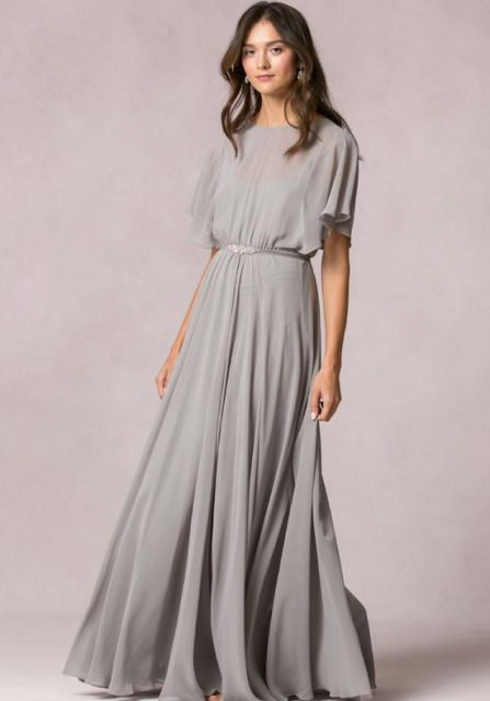 Chic gray maxi dress with belt