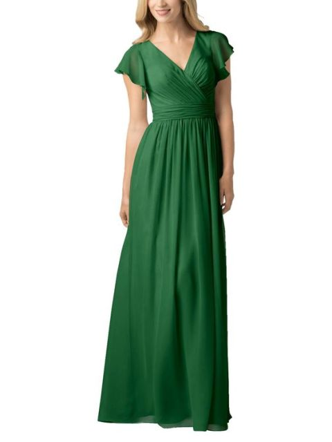 Chic green wrap maxi dress