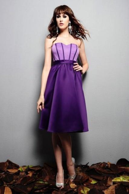 Color block purple strapless dress