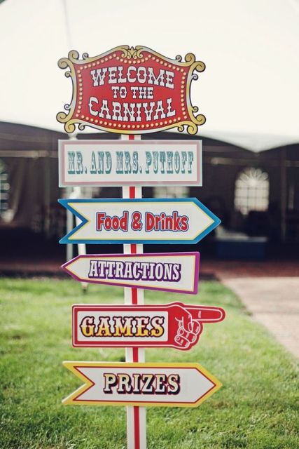Colorful circus themed sign