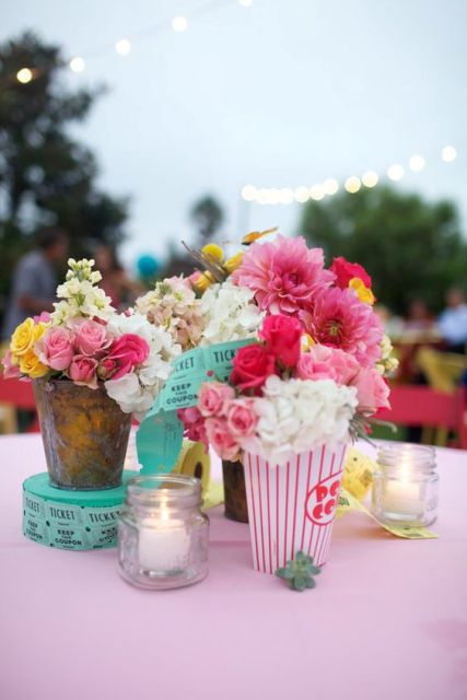 Colorful table centerpiece idea