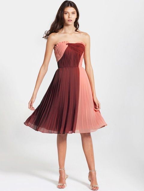 Cool peach and red knee-length pleated dress