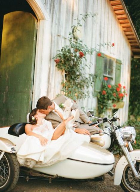 Cool vintage motorcycle with sidecar for wedding photo session