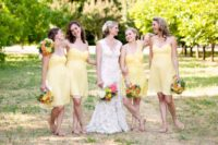 Cute light yellow airy dresses