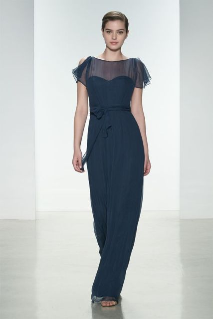 Dark blue chiffon maxi dress