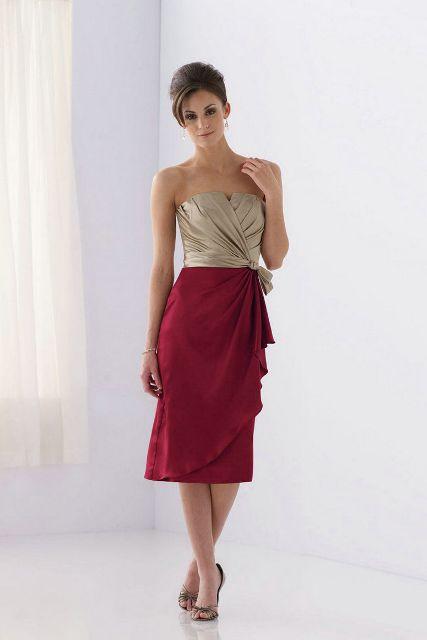Elegant red and champagne midi draped dress