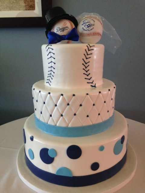 Funny baseball themed cake with cake toppers