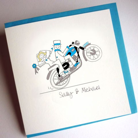 Motorcycle themed wedding invitations