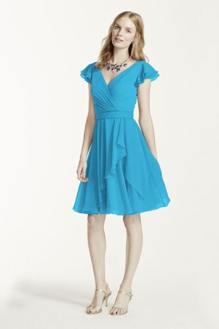 Girlish colored knee-length dress with sandals