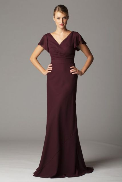 Gorgeous marsala maxi dress with V neckline